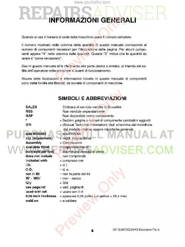 Bobcat 331, 331E, 334 (G-Series) Excavator Parts Manual PDF, Bobcat Manuals by www.repairsadviser.com